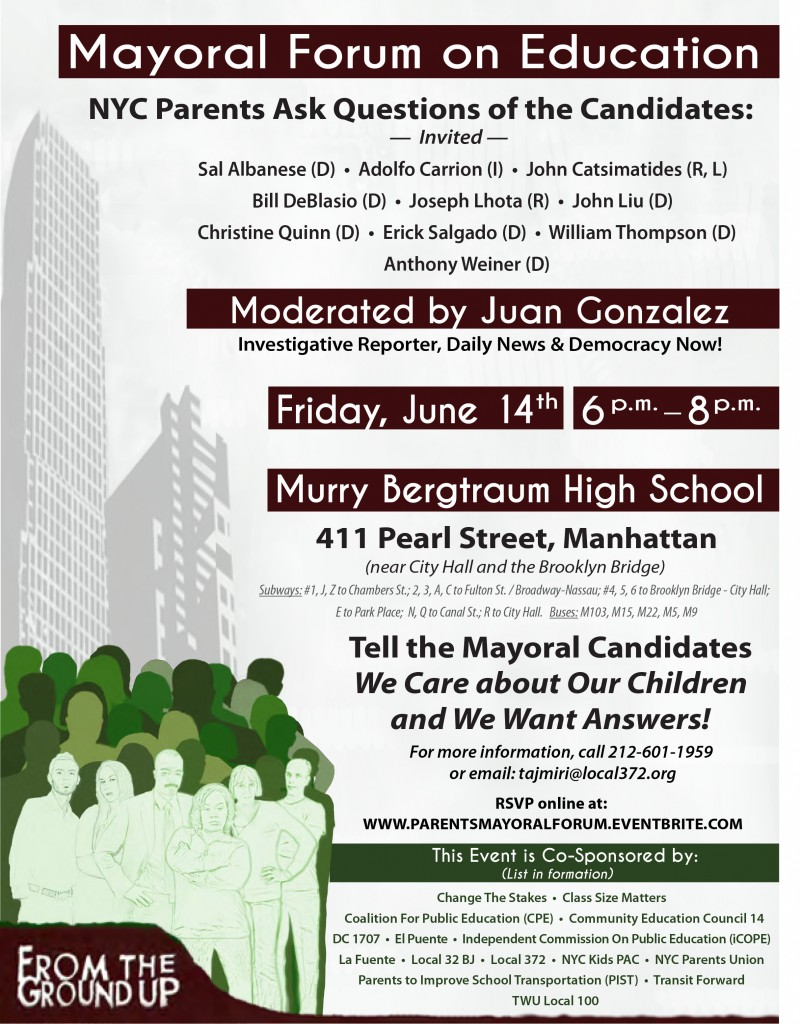 Mayoral Forum on Education @ Murry Bergtraum High School | New York | New York | United States